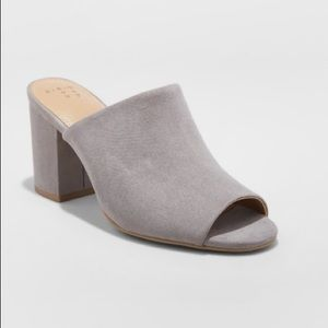 Women's Mule Heel Microsuede Grey Women Shoe NEW